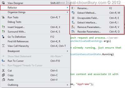 Refactor Context Menu in Visual Studio 2012