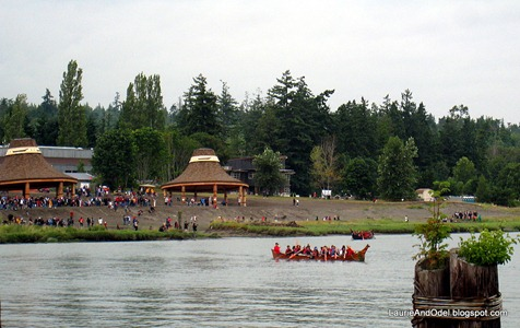 Canoe approaching potlatch