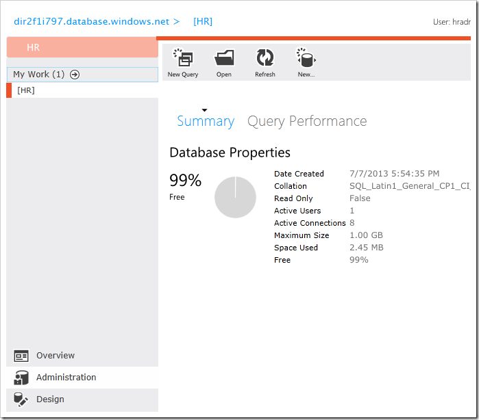 Administration page of Microsoft SQL Azure database management web app
