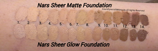 Nars Sheer Glow Foundation; Review & Swatches of Shades Light 1, 2, 3, 4, 5, Medium 1, 2, 3, 4, 5, Medium/Deep 1, 2, 3, Dark 1, 2,