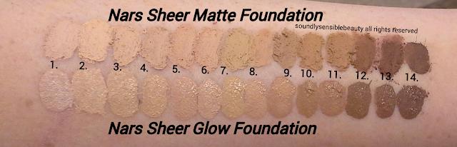 Nars Sheer Glow Foundation; Review & Swatches of Shades Light 1, 2, 3, 4, 5, Medium 1, 2, 3, 4, 5, Medium/Deep 1, 2, 3, Dark 1, 2,