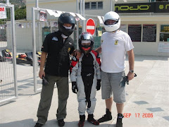 Sid, me and Dad trying out the Karts for the 1st time