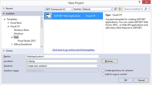 Nuevo proyecto: ASP.NET Web Application