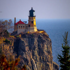 Split Rock Lighthouse  by Gary Hanson - Buildings & Architecture Public & Historical ( minnesota, late afternoon, lighthouse, north shore, splitrock )