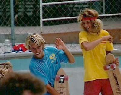 "A very young Jay Adams and Tony Alva messing around. The quality of ""T"" Shirts they are wearing were far superior then what they have today."