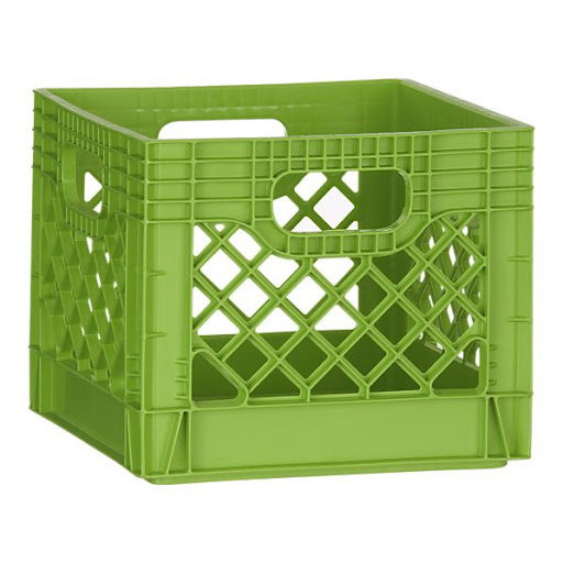 Milk crates are clever idea for keeping grocery bags in order. Keep a few in the trunk and the contents of your shopping trip won't be sliding around the back of the car. (crateandbarrel.com)