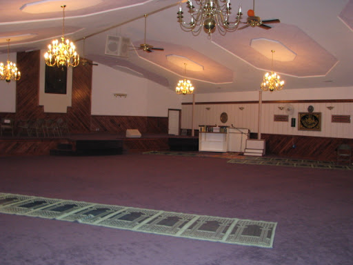 The building used to be a church; although it was built along an East-West grid, the carpets are aligned diagonally so that people may face Mecca, in Saudi Arabia, when they pray. (Photo credit: Jennifer Moore)
