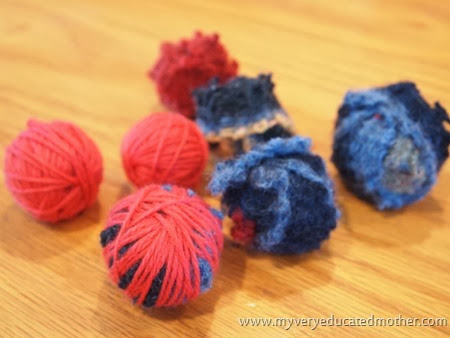 3 Balls before the roving is added #DIY #recycledcraft #giftidea #greenliving