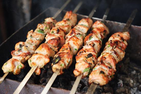 Shish kebab preparation