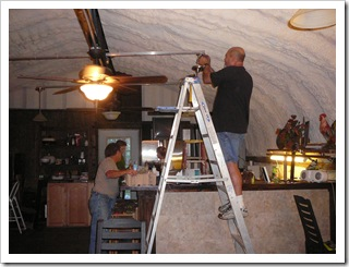 Andy working on clubhouse lights