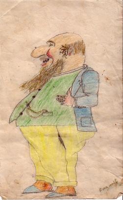 Un bancher un evreu bogat desen facut in anii 30 de Emanuel Chirila