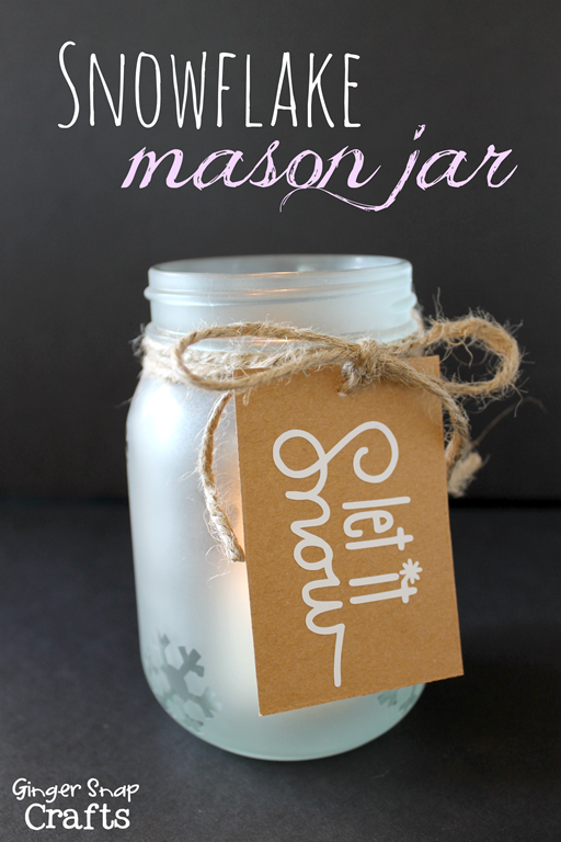 Snowflake Mason Jar with SilhouetteAmerica.com at GingerSnapCrafts.com  #vinyl #stenciling #SilhouetteTeam #silhouette #spon