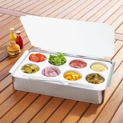All of your condiments in one place. This is a great product to save space on the table. (surlatable.com)