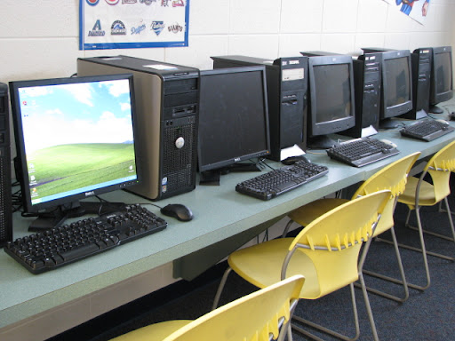 Computers are also available for the kids at the club.