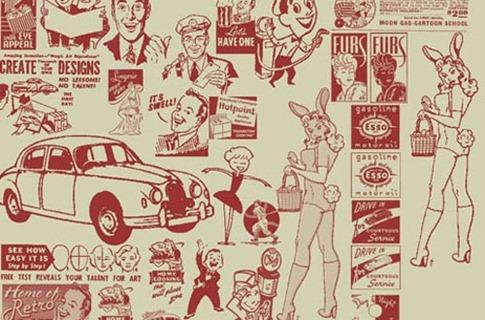 Pinceles de anuncios retro