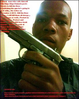 MAIMELA Mttj Stiga Stiga facebook threat to Kill the Boer brandishing gun