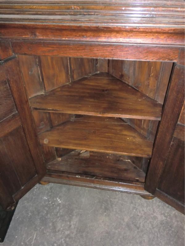 antike englische eckvitrine steineiche ca 1840 ebay. Black Bedroom Furniture Sets. Home Design Ideas