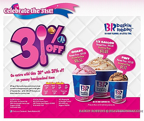 Baskin Robbins Offers Ice cream Pint quart 2013 Singapore sale coupons promotion Mint Chocolate Chip, Pralines 'n Cream, handpacked Outlets Novena Sqaure nex shopping mall clementi