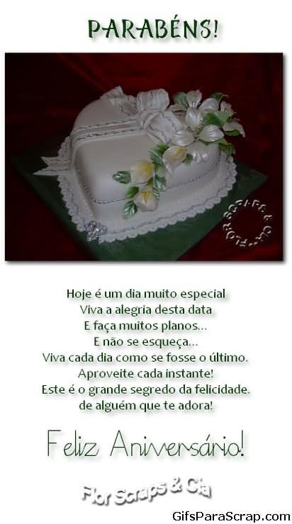 Parabéns Mensagem de feliz aniversário Dia especia