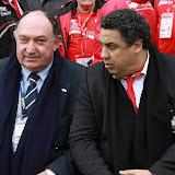 Serge Blanco (D) recevait Philippe Neys le tout nouveau président de L'Aviron Bayonnais