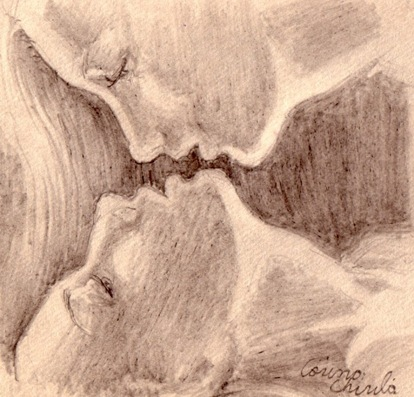 Iubire afectiune tandrete desen in creion - Love passion affection pencil drawing