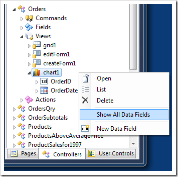 'Show All Data Fields' option in the context menu of the data controller view