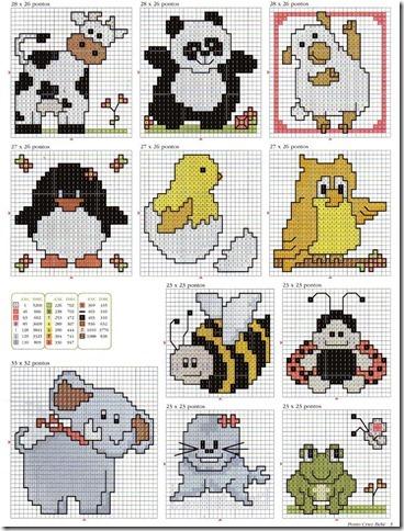 ponto cruz cross stitch animais pequenos