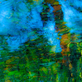 Monet Impression of Bill's Creek by Beverly McGowan - Abstract Patterns ( water, abstract, refreshing, watercolor, reflections, creeks, impressionism )
