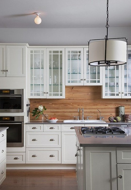 natural wood backsplash white kitchen