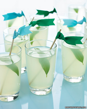 Cocktails or spritzers can be garnished with colored ribbon flags for easy greens. (http://www.marthastewartweddings.com/)