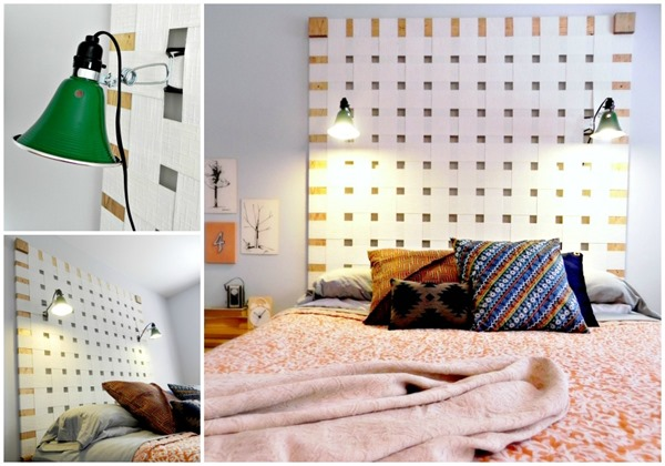 Headboard made from Upcycled Vertical Blinds
