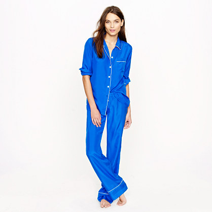 For lounging around all winter break (J.Crew silk pajama shirt and pant in brilliant cobalt $128 / $118, jcrew.com)