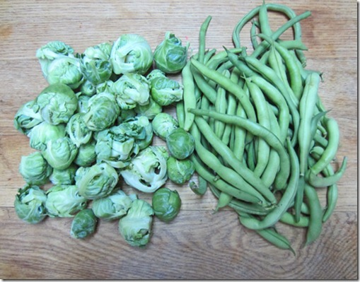 Brussels sprouts and bush beans