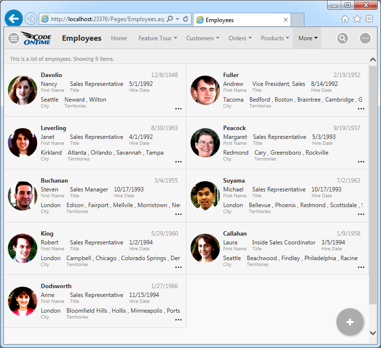 A single page app allows managing employees in the application with Touch UI created with Code On Time.