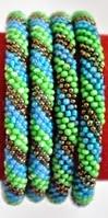 rollover bracelet brown stripe blue green