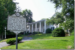Lewisburg Battle marker, in front of Gen. Lewis Hotel, (Click any photo to enlarge)