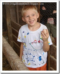 Goofy with an egg he gathered himself from a chicken - how cool is that!