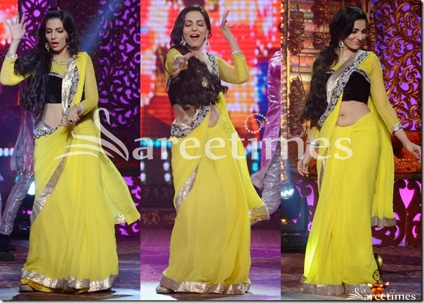 Yellow_Plain_Georgette_Saree