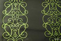 """Luksusowa trudnopalna tkanina z haftem. """"Tafta"""" butikowa. Na zasłony, poduszki, narzuty, dekoracje. Czarna, złota."""