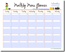 monthly meal plan calendar