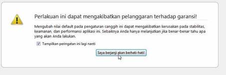 peringatan setelah membuka about config Firefox