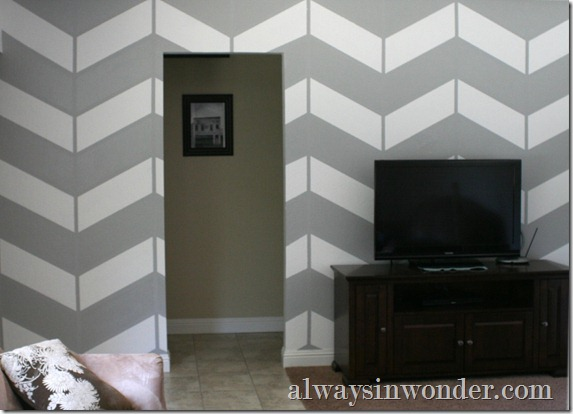 living room project, herringbone wall (16)
