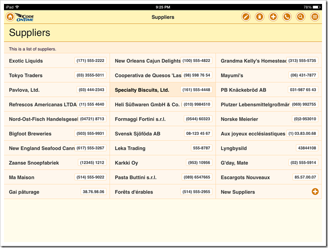 List with the fields tagged as 'item-heading' and 'item-count' in an app with Touch UI.