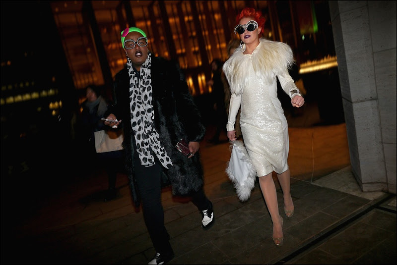18 neon hitch and friend white sequine dress fur trimmed white bag statement sunglasses black fur polka dot scarf green hat black and white wing tips ll hs ol