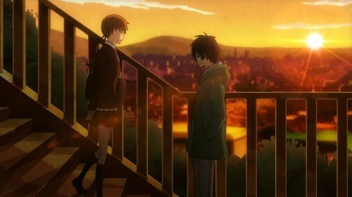 A side shot of Haru and Shizuku on the stairs overlooking the city during the evening with a gorgeous sunset on the horizon