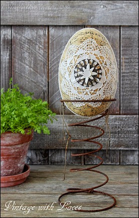 Easter Decoration - Decoupaged and Embellished Paper Mache Egg on Rusty Bed Spring