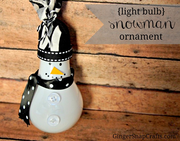 {light bulb} snowman ornament from GingerSnapCrafts.com