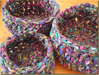 rag crochet baskets