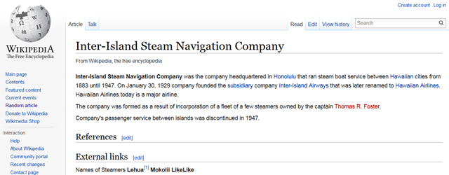 Wikipedia - Inter-Island Steam Navigation Company