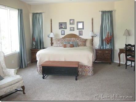 Master bedroom, gold, teal, rust orange, black, yellow pottery barn